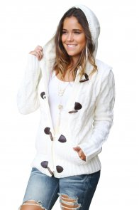 White Fur Hood Horn Button Sweater Cardigan