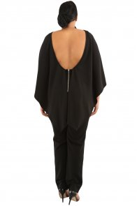 Black Plus Size Cape Ruffle Jumpsuit