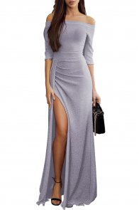 Gray Metallic Glitter Off Shoulder Maxi Party Dress