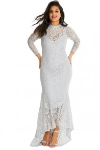 White Plus Size High Neck Lace Fishtail Maxi Dress