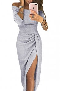 Gray Metallic Glitter Off Shoulder Formal Dress