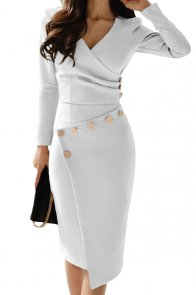Asymmetric Button Detail White Ruched Midi Dress