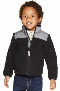 Black Unisex Zip-Up Fleece Jacket for Kids