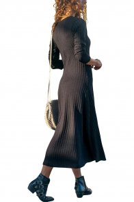 Black Button Front Long Sleeve Ribbed Maxi Dress