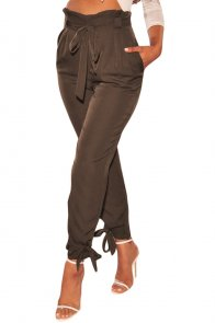 Brown High Waist Belted Tie Up Leg Pants