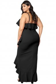 Black Plus Size Ruffle Trim Spaghetti Straps Maxi Dress