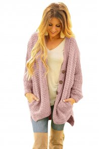 Dusty Pink Chenille Buttoned Sweater Cardigan