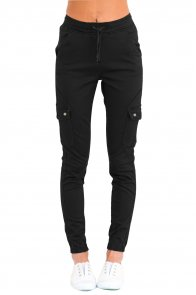 Black Drawstring Ankle Pocket Denim Jeans