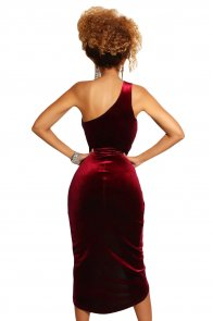 Burgundy False-2-pc One Shoulder Velvet Dress