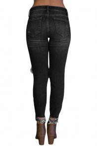 Black Destroyed Skinny Jeans