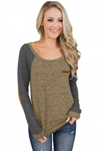 Marble Brown Elbow Patch Long Sleeve Top