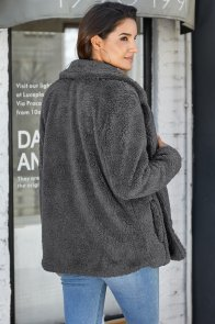 Charcoal Fleece Open Front Coat with Pockets