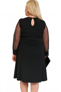 Black Sequined Round Neck Plus Size A-line Dress