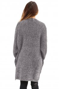 Gray Chenille Buttoned Sweater Cardigan