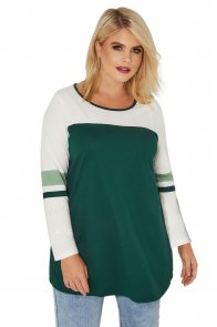 Green White Color Block Long Sleeve Plus Size Top