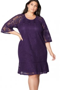 Purple Crochet Lace Overlay Plus Size Midi Dress