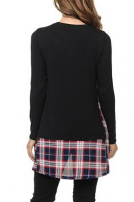 Black Plaid Patchwork Long Sleeve Tunic Top