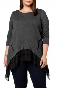 Black Sheer Ruffled Splice Plus Size Top