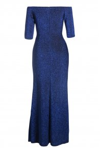 Royal Blue Metallic Glitter Off Shoulder Maxi Party Dress