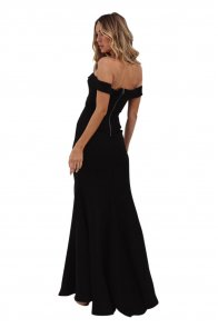 Black Off Shoulder Split Front Maxi Party Dress