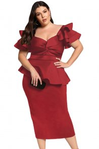 Burgundy Plus Size Tiered Sleeve Twisted Peplum Dress