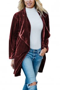 Russet Draped Open Front Velvet Jacket