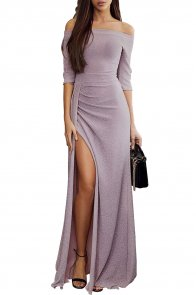 Mauve Metallic Glitter Off Shoulder Maxi Party Dress
