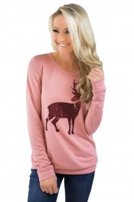 Pink Reindeer Sequined Christmas Sweatshirt