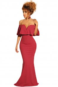 Red Ruffled Poncho Shiny Off Shoulder Party Gown