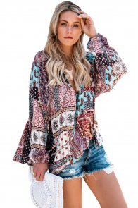 Dark Gypsy Print Tassel Tie V Neck Blouse