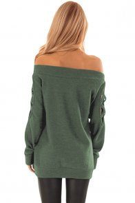 Green Crisscross Cutout Long Sleeve Off Shoulder Top