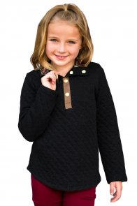 Black Toddlers Monogrammed Quilted Pullover Tunic