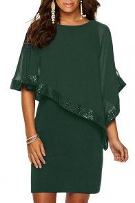 Hunter Green Sequined Poncho Mini Dress