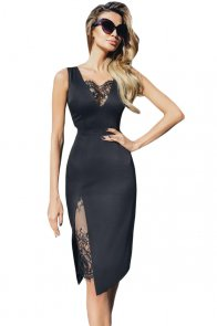 Black Lace Insert Sleeveless Bodycon Dress