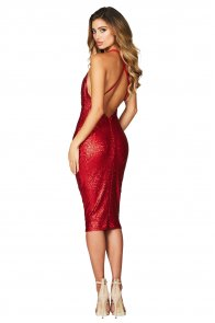 Red Seductive Sequin Midi Club Dress