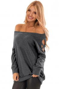 Charcoal Crisscross Cutout Long Sleeve Off Shoulder Top