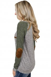 Marble Green Elbow Patch Long Sleeve Top