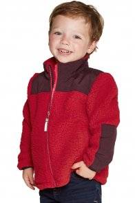 Red Unisex Zip-Up Fleece Jacket for Kids