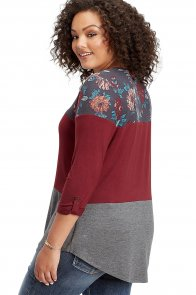 Burgundy Gray Colorblock Floral Plus Size Top