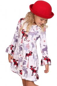 Girls Cute Moose Print Ruffled Christmas Dress