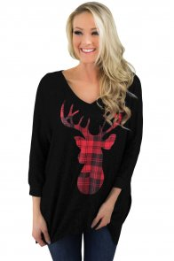 Christmas Deer Plaid Black Quarter Sleeve Tunic