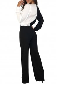 Black White Asymmetric Wide Leg Jumpsuit