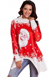 Cowl Neck Santa Claus Accent Xmas Tunic Top