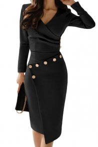 Asymmetric Button Detail Black Ruched Midi Dress