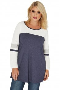 Navy White Color Block Long Sleeve Plus Size Top