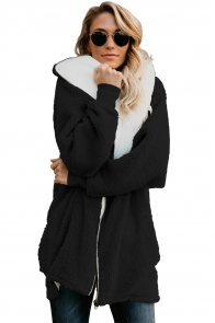 Black Zip Down Hooded Fluffy Coat