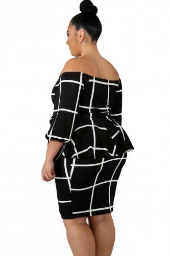 US$32.75 Zkess Black White Checked Plus Size Peplum Dress