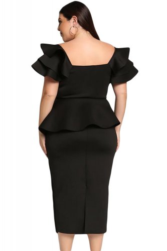 Black Plus Size Tiered Sleeve Twisted Peplum Dress