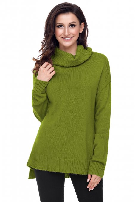 Army Green Causal Knit High Neck Loose Sweater