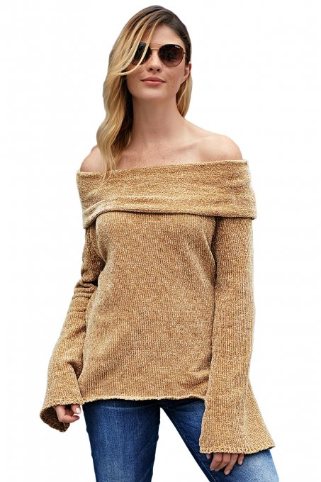 Khaki Soft Velvet Knit Off Shoulder Sweater